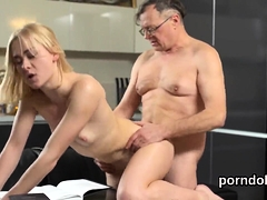 Natural Bookworm Is Teased And Banged By Older Tutor