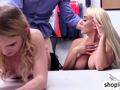 Hot big tits stepmom sucks a cops cock in his office