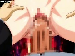 Busty hentai gets double penetrated