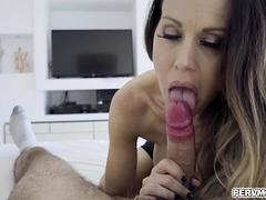 Stepsons slips his prick into his hot sexy stepmom