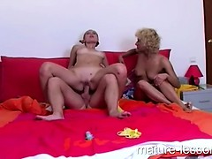 Blonde milf fucks horny teen couple
